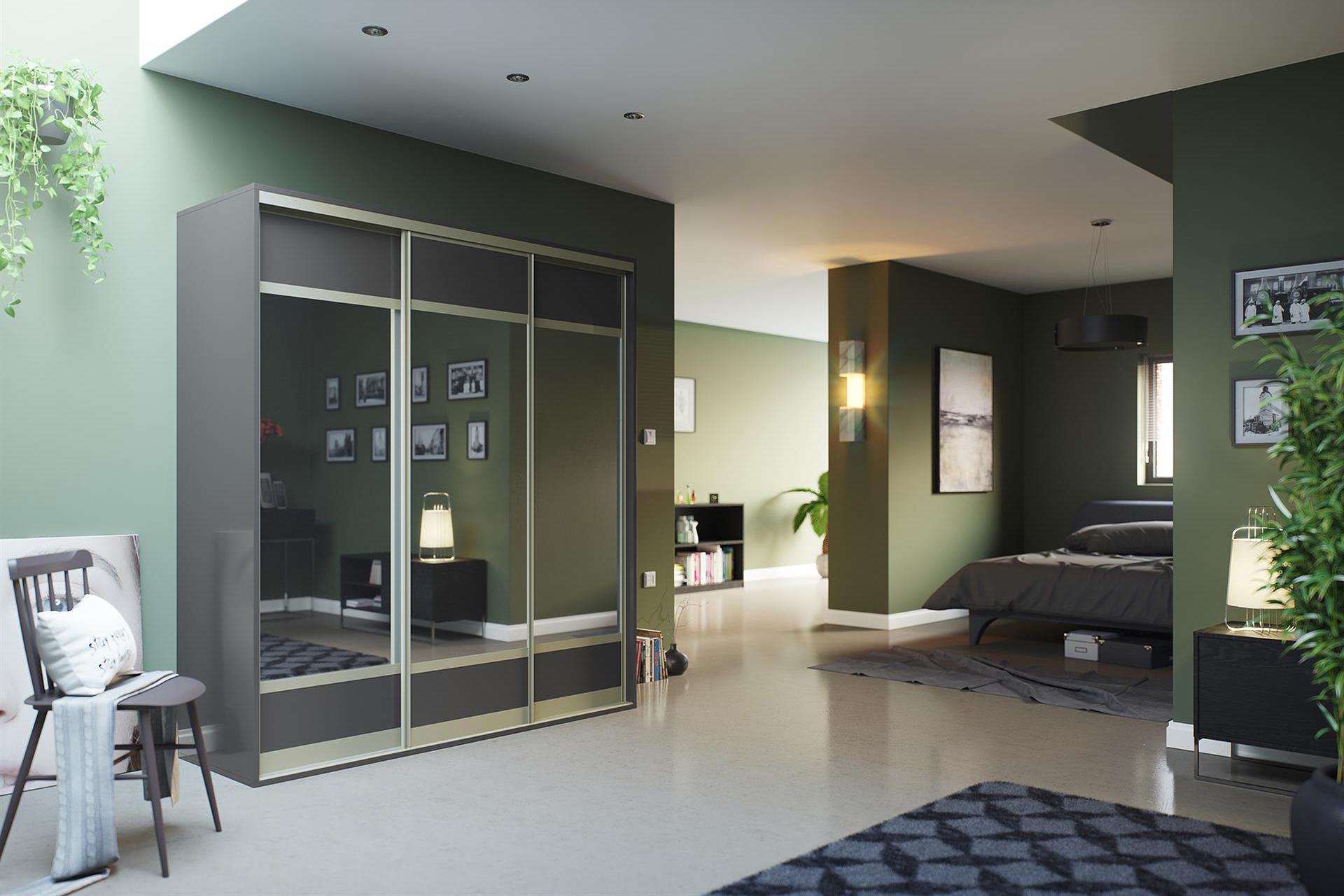 Matt Dust Grey and Mirror 3 Panel (large centre)