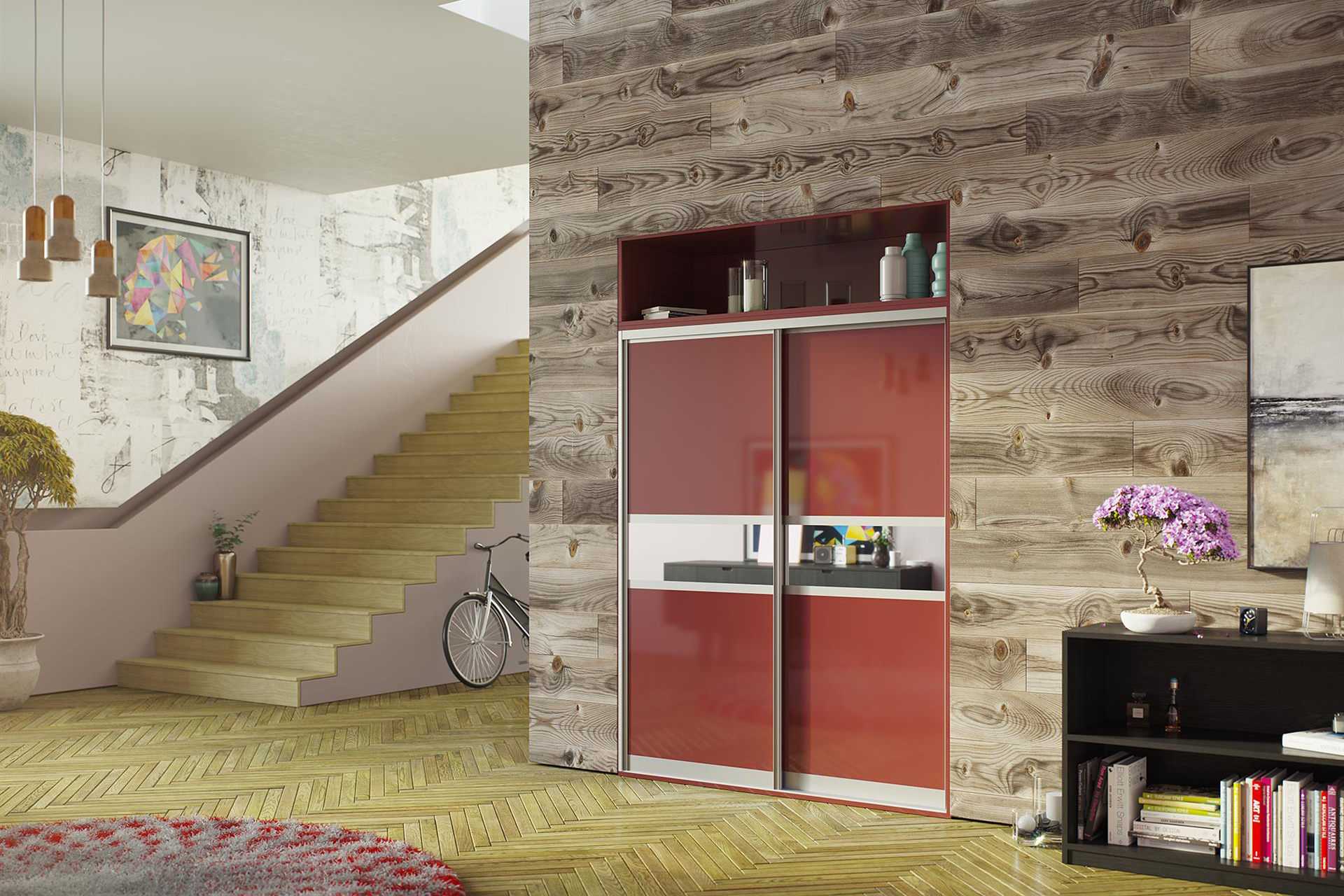 Red Gloss and Mirror 3 Panel (narrow centre)