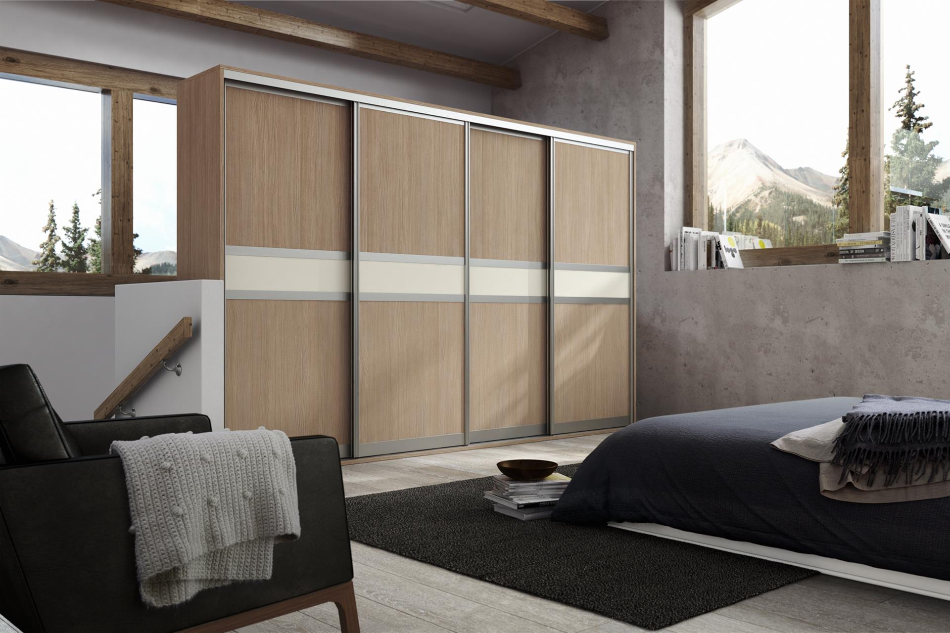 Sonomoa Oak and Cream Gloss 3 Panel (narrow centre)